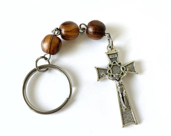 Hail Mary Prayer Keychain with Olive Wood Beads from the Holy Land and Crown of Thorns Crucifix, Catholic Gift