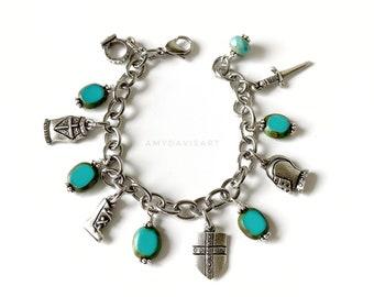 "Ephesians 6 Christian Charm Bracelet with Turquoise Czech Glass Beads ""Put on the Full Armor of God"""
