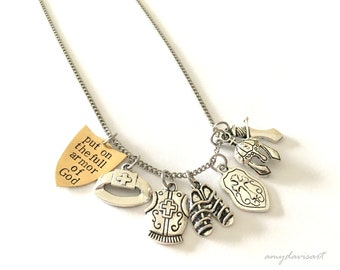 Put on the Full Armor Of God Necklace, Christian Jewelry, Customized Initial Necklace, Hand Stamped Necklace, Ephesians 6 Scripture Jewelry