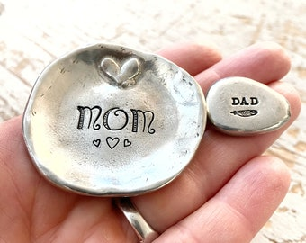 Baby shower gift for mom and dad - pewter ring dish and pocket token with personalization option