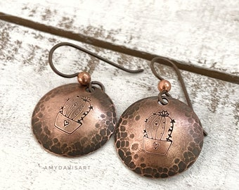 Cactus Earrings, Hammered and Hand Stamped Copper Circles on Niobium Ear Wires (hypoallergenic)