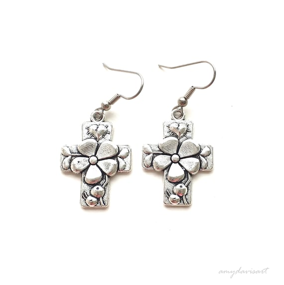 Hail Mary Cross Earrings ~ Catholic Jewelry ~ Ave Maria Prayer ~ Mother's  Day Gift