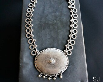Alaqua Silver Necklace Statement Bohemian Jewelry Women Necklace