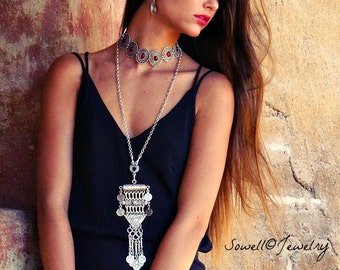 Hadley Long Necklace Bohemian Jewelry Gypsy Jewelry