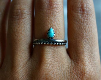 Bipana Sterling Silver Ring, Stackable Ring, Turquoise Ring, Boho Ring