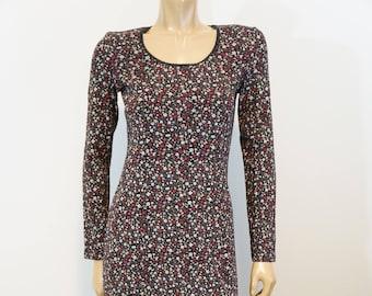 New Laura Ashley Prairie Print Dress, Small Floral Long Sleeve Black Stretch Knit, Slip On Country Dress,Vintage, Scallop hem neckline, NWT
