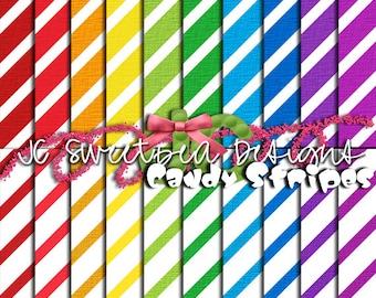Candy Stripe Scrapbooking Paper Set