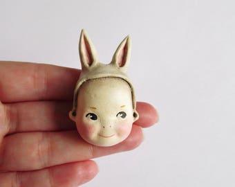 Kewpie Bunny Doll Brooch Pin Cream