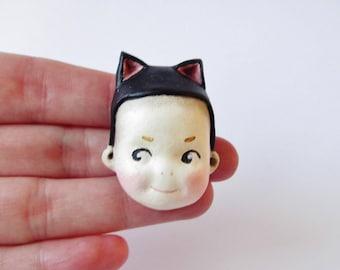 Kewpie Kitty Doll Brooch - Paperclay Cat Doll Pin