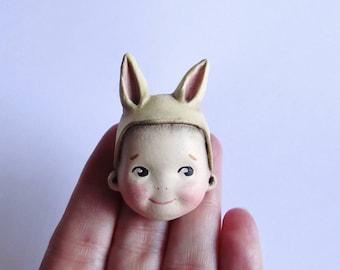 Kewpie Bunny Pale Lemon Brooch Pin