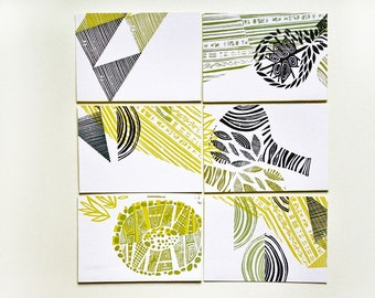 lino printed folded cards (set of 6, 4x6inch)