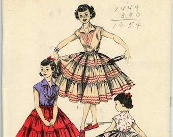 Vintage Advance Pattern 6761 - ca. 1954 - Girls' Two Piece Dress Size 10 Breast 28