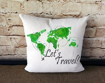 Throw pillow map etsy travel pillow lets travel world map pillow map pillow map throw pillow travel throw pillow small decorative pillow travel gumiabroncs Choice Image