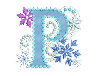 ice princess applique machine embroidery design for girls letter p frozen dl044