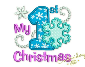 My First Christmas applique,First Christmas Applique,Snowman Embroidery file,Snowman Applique,Machine embroidery Design NO:2419