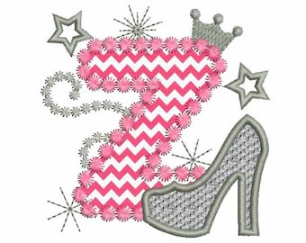 Pink Silver Letter Z High Heel Shoe For Cute Girls Applique Embroidery Designs DL027