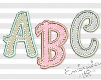 92132ad1eca4 Coupon Codes! BX included! Applique Alphabet Font Machine Embroidery Design  4 sizes AL054