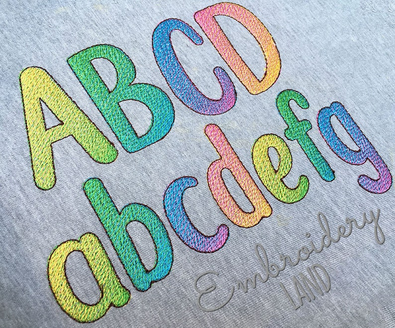 BX included Lowcase Poppy Ombre Gradient Filled Embroidery Narrow Font in 3 colors 5 sizes Uppercase Numbers and Punct AL093