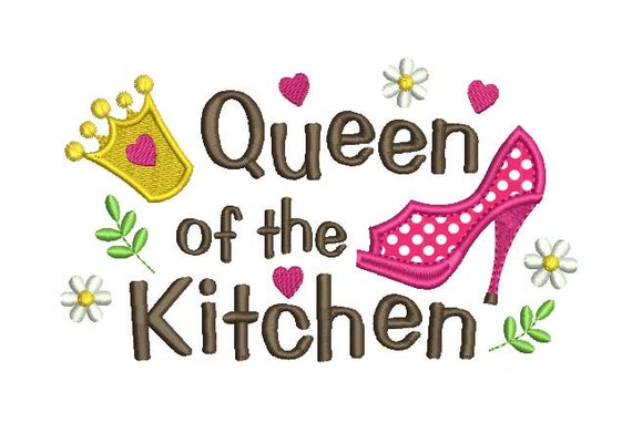 Applique Machine Embroidery Design Queen Of The Kitchen Apron Etsy