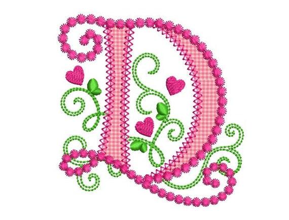 letter d applique machine embroidery design monogram initials etsy
