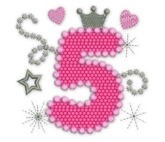 feliz cumpleaños número 5 glamour rosa para niña apliques etsy