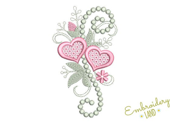 Two Hearts Valentines Day Whimsical Embroidery Design Etsy