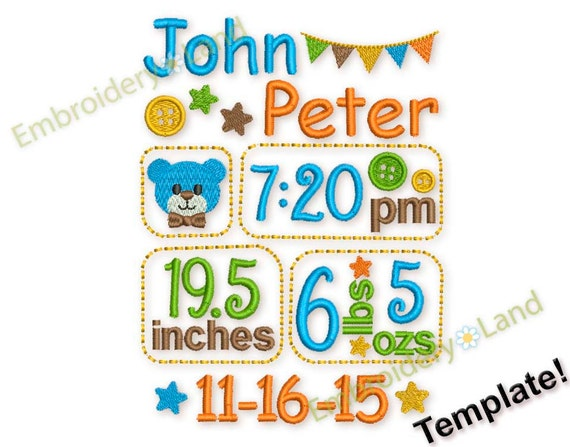 birth baby boy announcement template embroidery designs set etsy