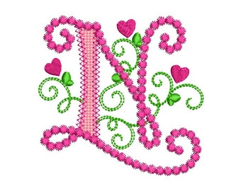 Cute Letter N Alphabet for Lil Princess Hearts Applique Embroidery Design Monogram Initials Valentine's Day AppliqueDL072