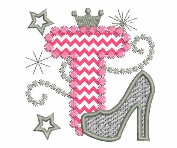 This Would Be Cute To Change Into The Welcome Letter To: Pink Silver Letter T High Heel Shoe For Cute Girls Applique