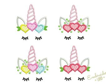 Cute Unicorn Heart Valentine's Day Machine Embroidery Design Four Variations 3 sizes 4x4 5x7 6x10 hoop DE069