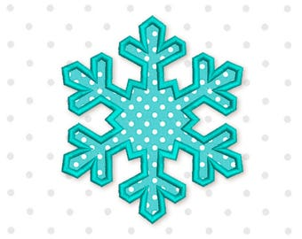 Snowflake Applique Machine Embroidery Design  New Year Frozen 3 sizes 4x4 5x7 6x10 CHR060