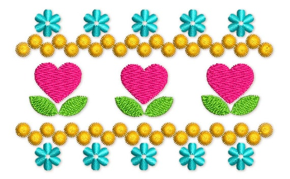Heart Flowers Filled Machine Embroidery Border Design Etsy