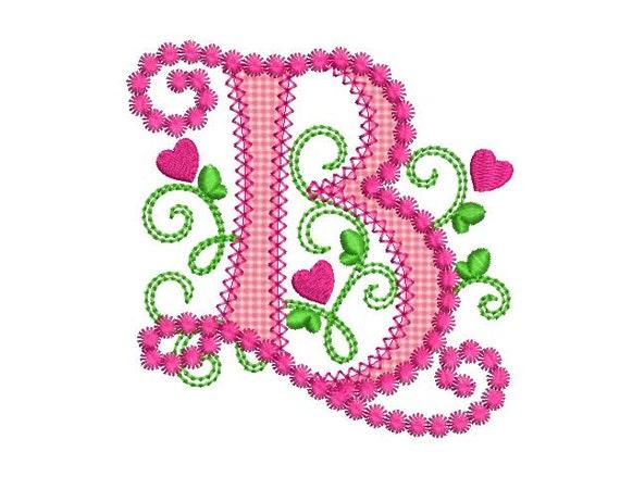 Cute Letter B Alphabet For Lil Princess Hearts Applique Etsy