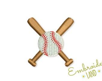 "Baseball Mini Embroidery Design Baseball Ball and Bats 3 sizes 1.2"" 1.5""  2""  SP014"