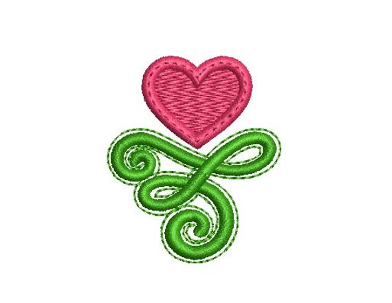 Heart Whimsical Embroidery Design Valentines Day Decor Etsy