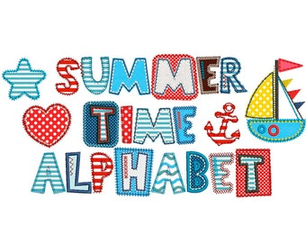 Coupon Codes! Summer Time Applique Alphabet Font Machine Embroidery Design 4 sizes Sea Style Embroidery Designs AL025