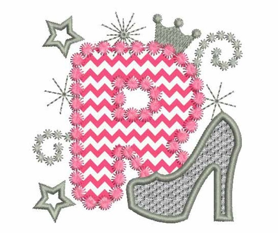 Pink Silver Letter R High Heel Shoe For Cute Girls Applique Etsy