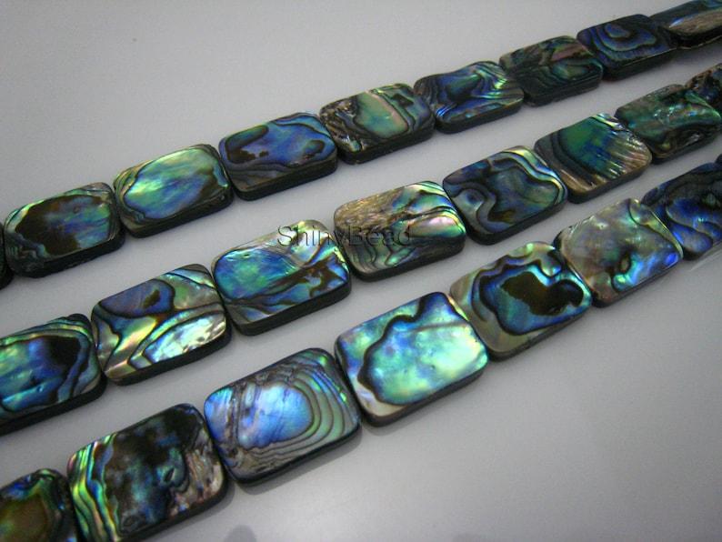 abalone shell flat rectangle bead 18x13mm 15 inch strand
