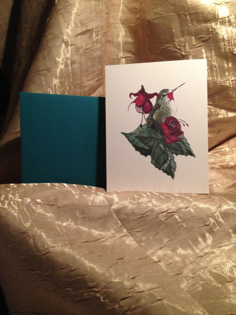 Mothers Day Hummer~Hummerwith flowers for her~Handmade Card for MOM~HummingBird Card for Wife~Hummer card for Lover~LOVE