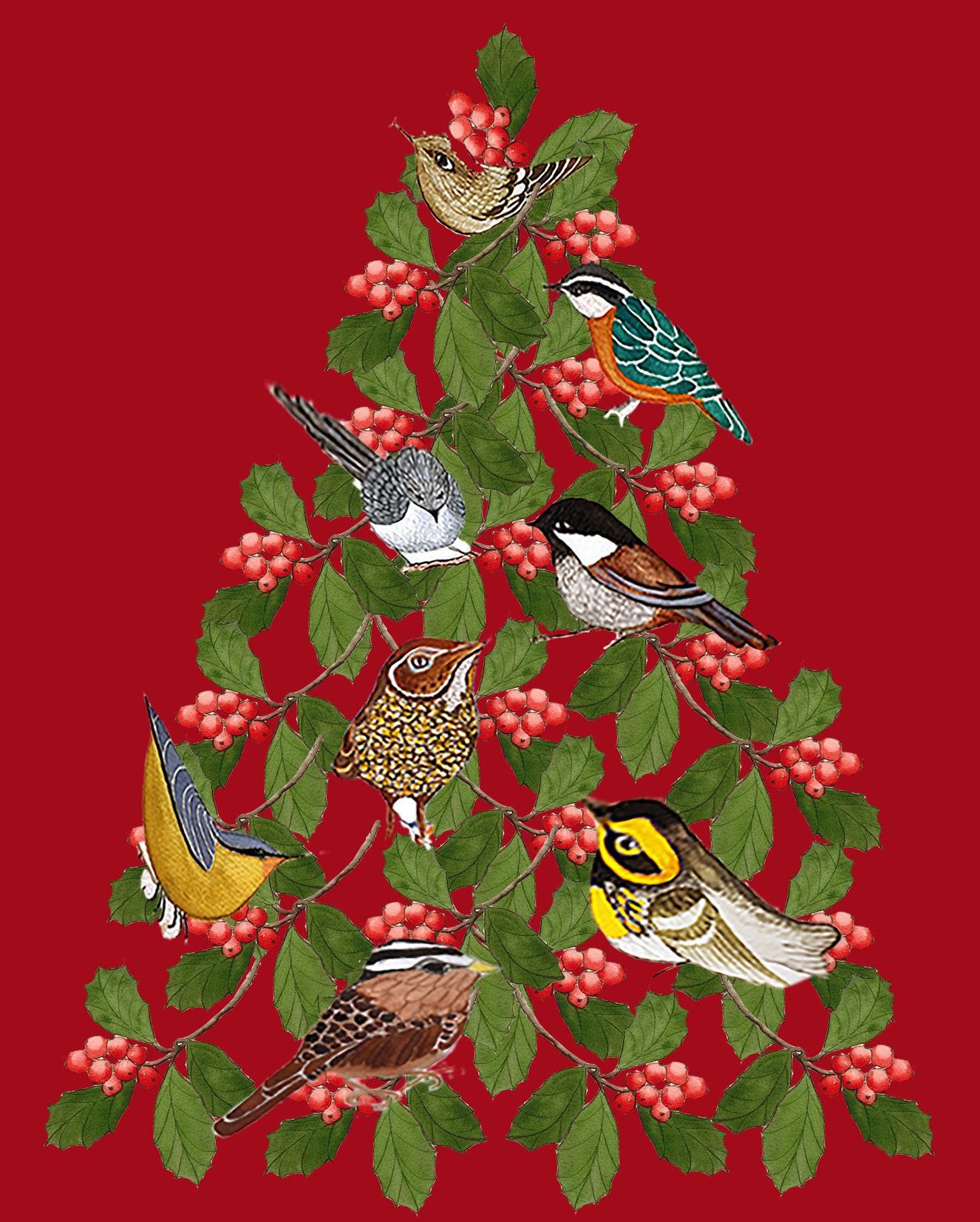 Custom Little Birds Christmas Tree CardHand Made Christmas | Etsy