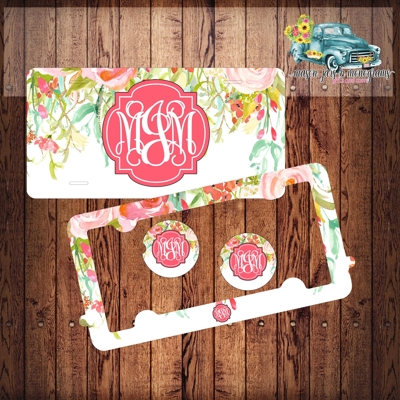 License Plate Frame ~ Car Coasters ~ Sandstone Coasters ~ Floral ...