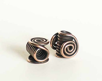 Large Hole Beads Copper Wire Beads 4.5mm Centre Hole Large Celtic Spirals x6 Beads Leather Cord Beads