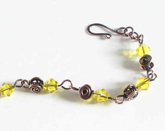 Yellow Crystal Bracelet Copper Spirals Beads Citrine Yellow Swarovski Xilion Bicones Copper Yellow Spiral Handmade Hand Made