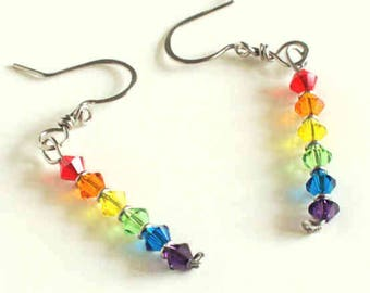 Rainbow Crystal Earrings Stainless Steel Rainbow Earrings Swarovski Crystals Stainless Steel Handmade Steel Earwires Hand Made