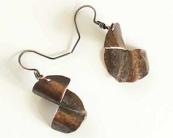 Copper Earrings Half Textured Swirl (pair)