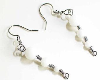 White Quartz Earrings Stainless Steel White Earrings Celtic Spirals Stainless Steel Quartz Beads Handmade Steel Earwires Hand Made