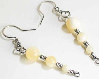 Honey Quartz Earrings Stainless Steel Honey Earrings Celtic Spirals Stainless Steel Quartz Beads Handmade Steel Earwires Hand Made