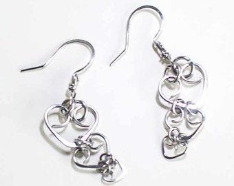 Hearts Earrings Stainless Steel Triple Heart Earrings Stainless Steel Handmade Steel Earwires Hand Made