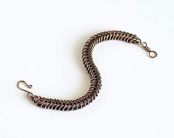 """Copper Chainmaille Bracelet Box Chain Antiqued Copper 7.5"""" Chain Maille Mail Box Chain Bracelet Handmade Hand Made"""