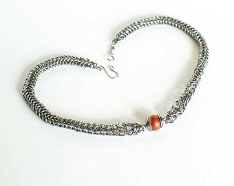 """Steel Necklace Jasper Box Chain Chainmaille Tapered 18"""" Necklace Stainless Steel ft. Red Jasper 12mm Round Beads Mail"""